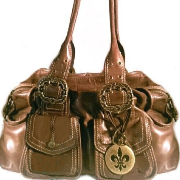 b587afd58 Giani Bini Bags | Large Leather Handbag Fleur De Lis Charms | Poshmark